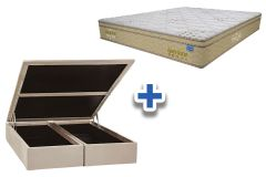Conjunto Cama Box Baú - Colchão Probel de Molas Pocket Guarda Costa Elite Viscoelástico Euro Pillow + Cama Box Baú Nobuck Bege